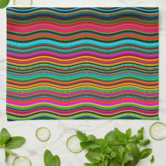 Beautiful Colorful Wavy Stripe Pattern Hand Towel