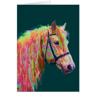 Beautiful colour of the Rainbow Highland Pony Greeting Card