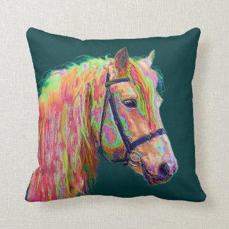 Beautiful colour of the Rainbow Highland Pony Throw Pillow
