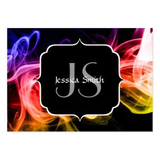 Beautiful Colourful Abstract Smoke with Monogram Business Card Template