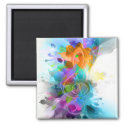 Beautiful colourful and cool splatter music note 2 inch square magnet