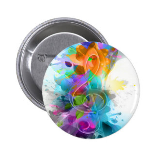 Beautiful colourful and cool splatter music note pinback buttons