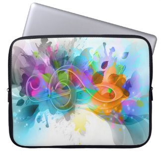 Beautiful colourful and cool splatter music note computer sleeve