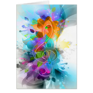 Beautiful colourful and cool splatter music note greeting card