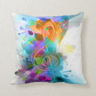 Beautiful colourful and cool splatter music note pillow
