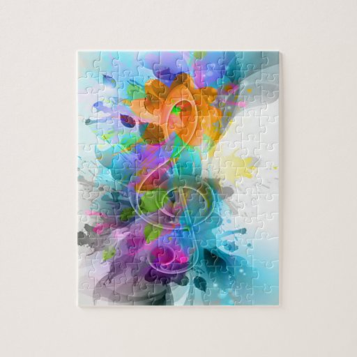 Beautiful colourful and cool splatter music note puzzle
