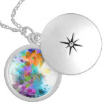 Beautiful colourful and cool splatter music note round locket necklace
