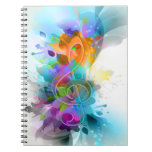 Beautiful colourful and cool splatter music note spiral notebooks