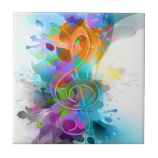 Beautiful colourful and cool splatter music note ceramic tile