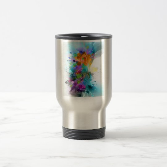 Beautiful colourful and cool splatter music note travel mug