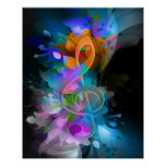 Beautiful colourful cool splatter flowers leaves poster