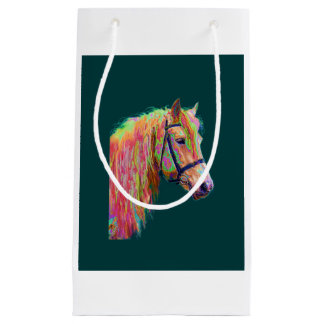 Beautiful colours of the Rainbow Highland Pony Small Gift Bag