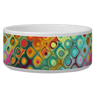 Beautiful cool abstract squares circles glass glow dog food bowl