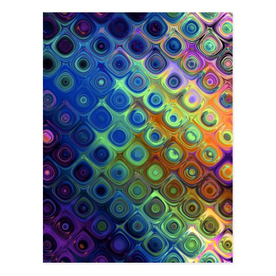 Beautiful cool abstract squares circles glass glow postcard