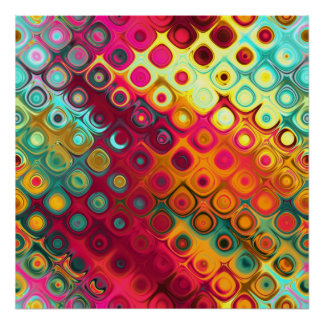 Beautiful cool abstract squares circles glass glow print