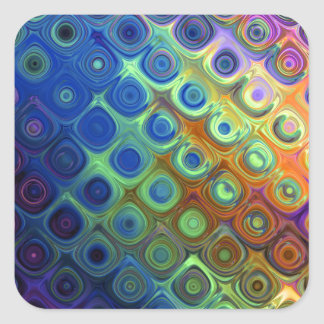 Beautiful cool abstract squares circles glass glow square sticker