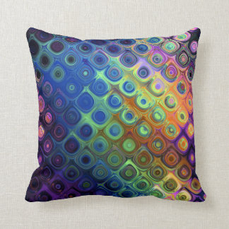 Beautiful cool abstract squares circles glass glow throw pillow