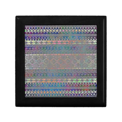 Beautiful cool colourful Aztec geometric pattern Jewelry Box