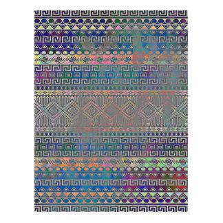 Beautiful cool colourful Aztec geometric pattern Postcard