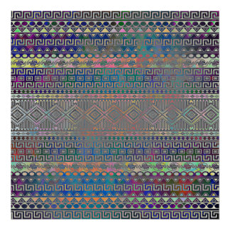 Beautiful cool colourful Aztec geometric pattern Posters