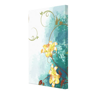 Beautiful cool different blue tones watercolour stretched canvas print