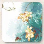Beautiful cool different blue tones watercolour beverage coaster