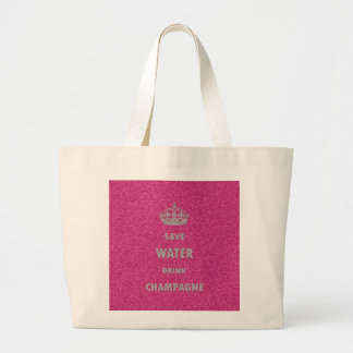 Beautiful cool girly save water drink champagne cr large tote bag