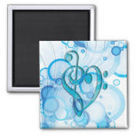 Beautiful cool music notes together as a heart 2 inch square magnet