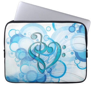 Beautiful cool music notes together as a heart computer sleeves