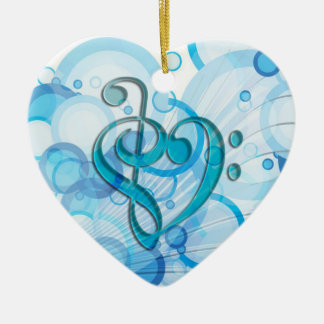 Beautiful cool music notes together as a heart christmas tree ornament