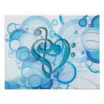 Beautiful cool music notes together as a heart poster