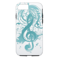 Beautiful cool music notes with splatter swirls iPhone 7 case