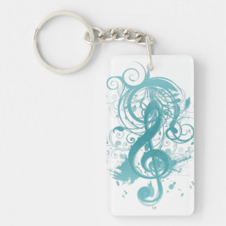 Beautiful cool music notes with splatter swirls keychain