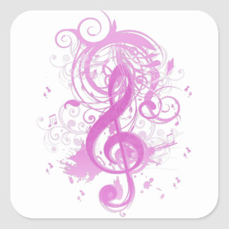 Beautiful cool music notes with splatter swirls square sticker