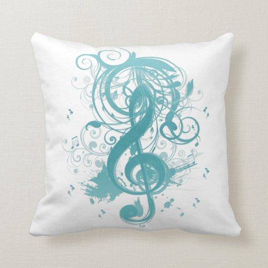 Beautiful cool music notes with splatter swirls throw pillow