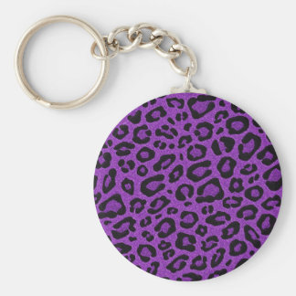 Beautiful cool purple leopard skin glitter effects basic round button keychain