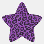 Beautiful cool purple leopard skin glitter effects star stickers