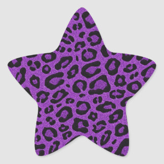 Beautiful cool purple leopard skin glitter effects star sticker