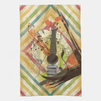 Beautiful cool vintage guitar music notes kitchen towel
