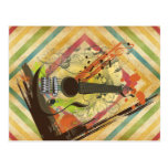Beautiful cool vintage guitar music notes postcard