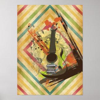 Beautiful cool vintage guitar music notes splatter posters