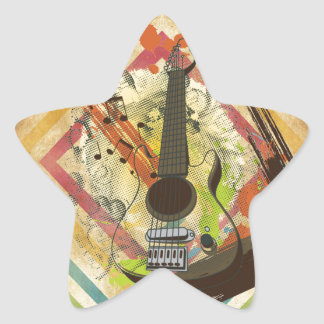 Beautiful cool vintage guitar music notes star sticker