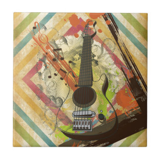 Beautiful cool vintage guitar music notes tile
