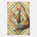 Beautiful cool vintage guitar music notes towels