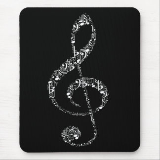 Beautiful cool white music notes mouse pad