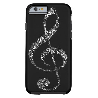Beautiful cool white music notes tough iPhone 6 case