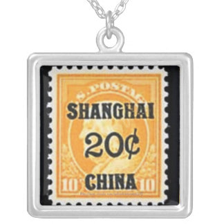 Beautiful copy 20 cent Shanghai stamp-circa 1922 Silver Plated Necklace