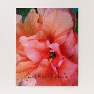 Beautiful Coral Orange Hibiscus Flower Custom Name Jigsaw Puzzle