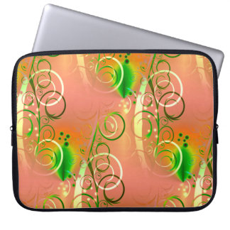 Beautiful Coral Peach Green Yellow Spring Floral Computer Sleeve