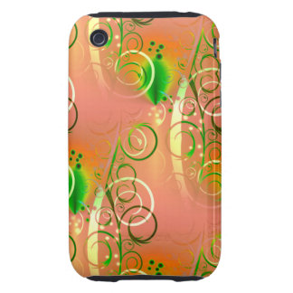 Beautiful Coral Peach Green Yellow Spring Floral Tough iPhone 3 Case